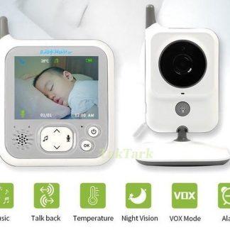 Babyfoon met camera - 3.2 inch - Nachtlamp - Externe antenne - Terugspreken - Temperatuur - Slaapliedjes