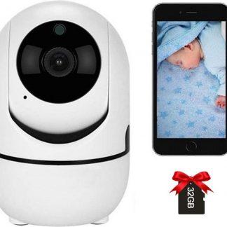 Luxyana® Beveiligde Babyfoon met Camera - Inclusief 32GB Micro SD-Kaart - Babyfoon Pro Series - Premium Veiligheid voor het Gezin - Wifi - Gratis App - HD Kwaliteit - Spraakfunctie - Bewegingsdetectie - Wit