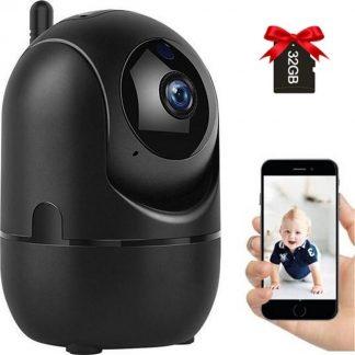 Luxyana® Beveiligde Babyfoon met Camera - Inclusief 32GB Micro SD-Kaart - Babyfoon Pro Series - Premium Veiligheid voor het Gezin - Wifi - Gratis App - HD Kwaliteit - Spraakfunctie - Bewegingsdetectie - Zwart